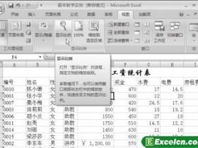 调整Excel2007文档的显示比例